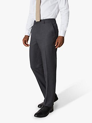 Jaeger 135 Wool Flannel Regular Fit Suit Trousers, Charcoal