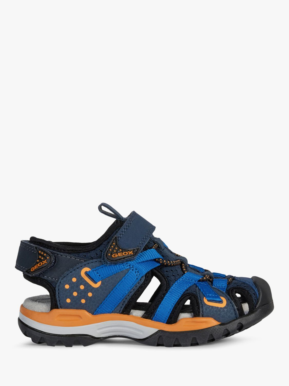 Geox Geox Children's Borealis Riptape Sandals, Navy/Orange