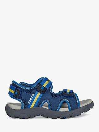 Geox Children's Strada Riptape Sandals, Blue/Yellow