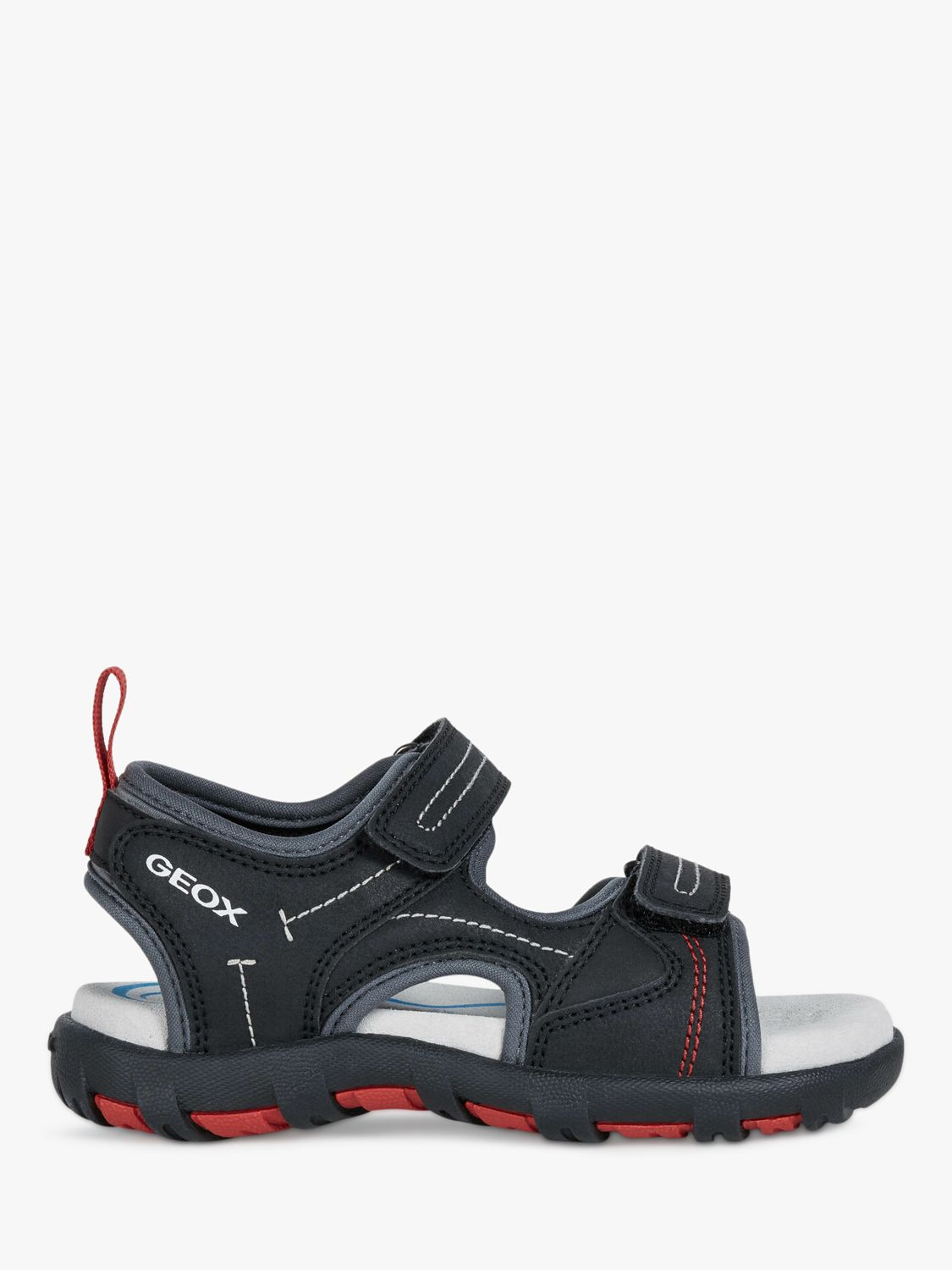 Geox Geox Children's Pianeta Riptape Sandals, Black/Red