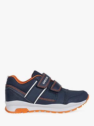 Geox Children's Coridan Riptape Trainers, Navy/Orange