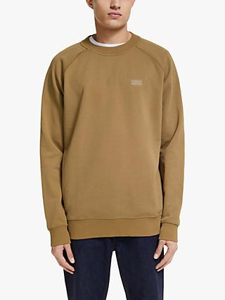 Scotch & Soda Relaxed Organic Cotton Logo Sweatshirt, Pecan