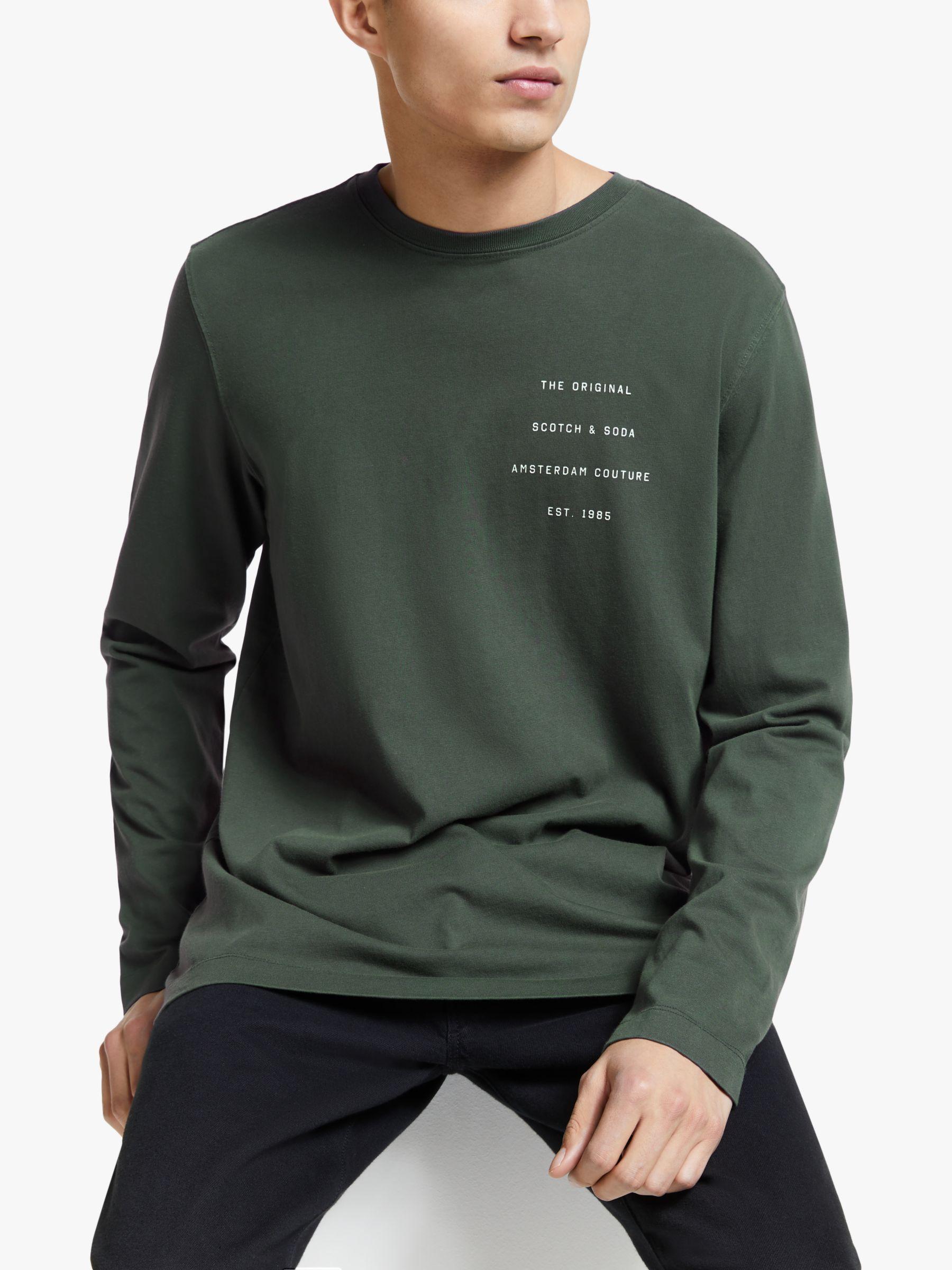 Scotch & Soda Scotch & Soda Logo Detail Organic Cotton Long Sleeve T-Shirt, Army
