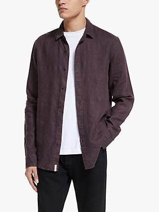 Scotch & Soda Classic Linen Shirt, Bord/Aubergine