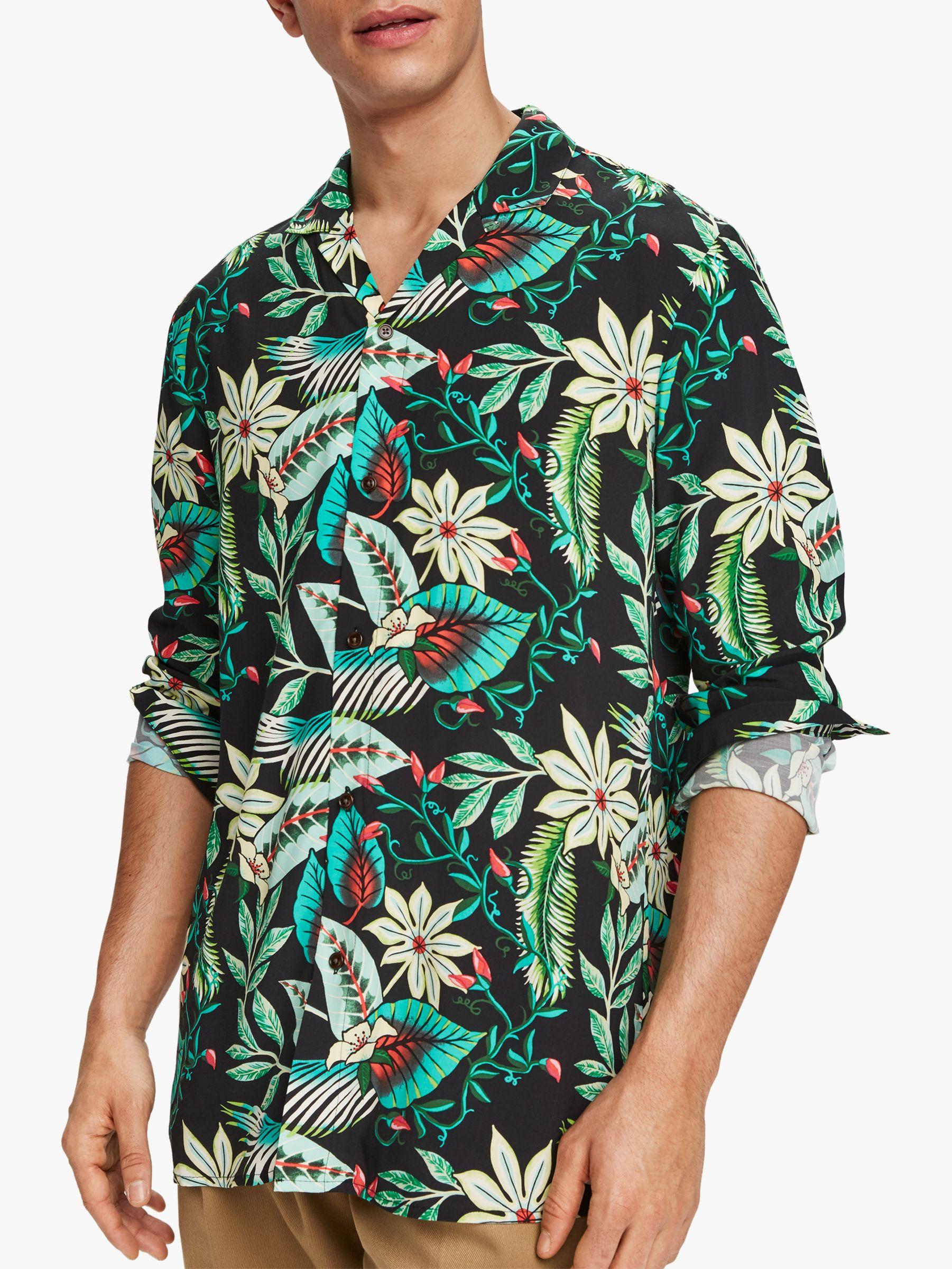 Scotch & Soda Scotch & Soda Hawaiian Print Short Sleeved Shirt, Green/Multi