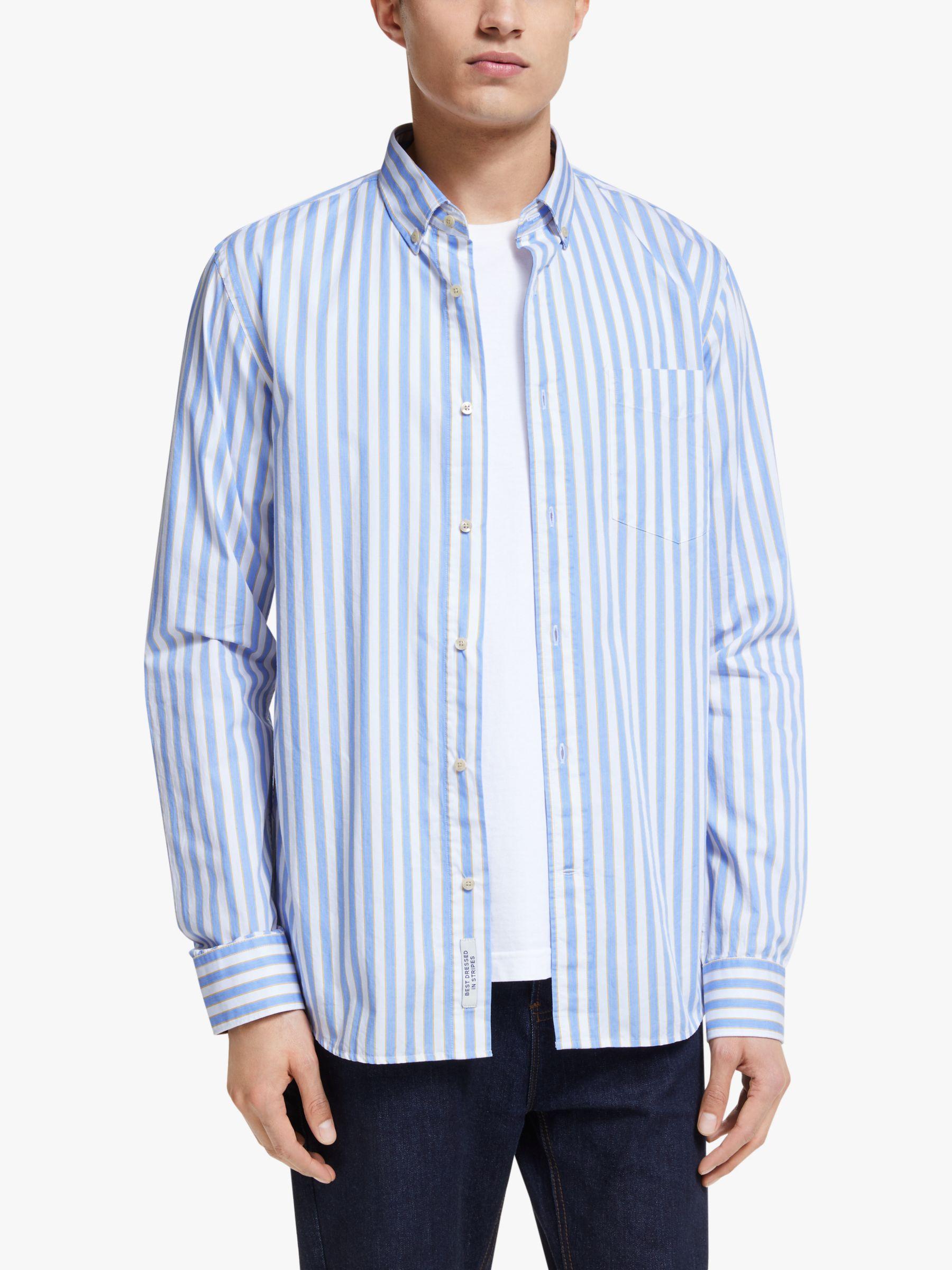 Scotch & Soda Scotch & Soda Yarn Dyed Stripe Shirt, Blue