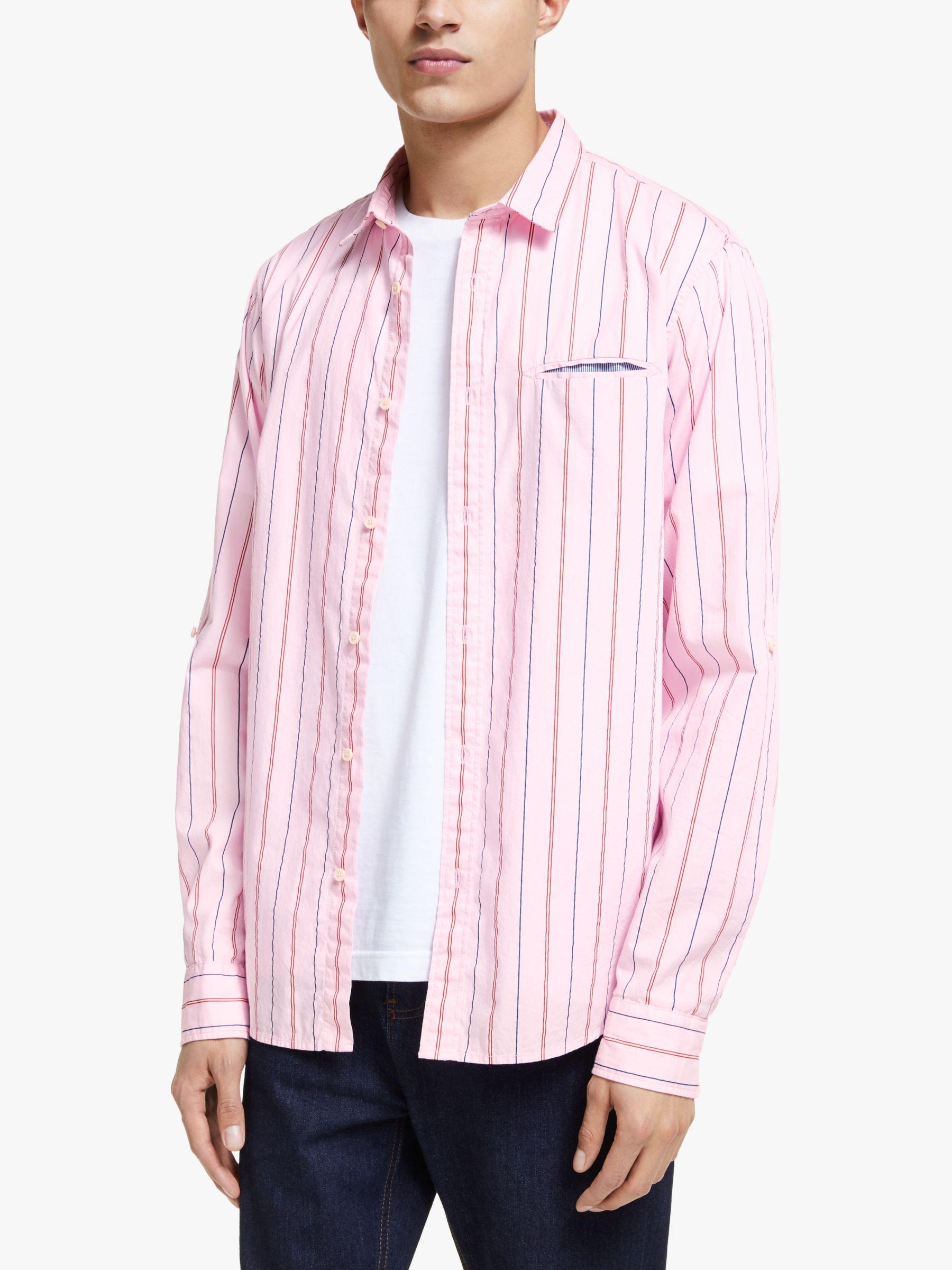Scotch & Soda Scotch & Soda Classic Stripe & Pocket Shirt, Pink/Multi