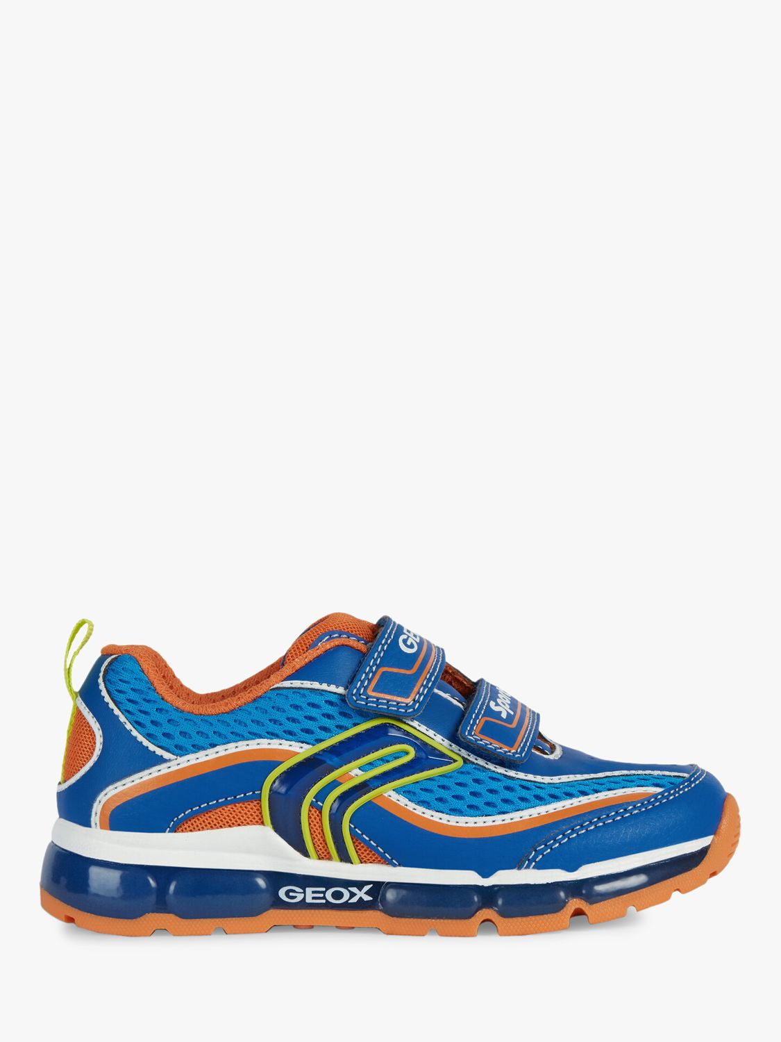 Geox Geox Children's Light Up Android Trainers, Royal/Orange