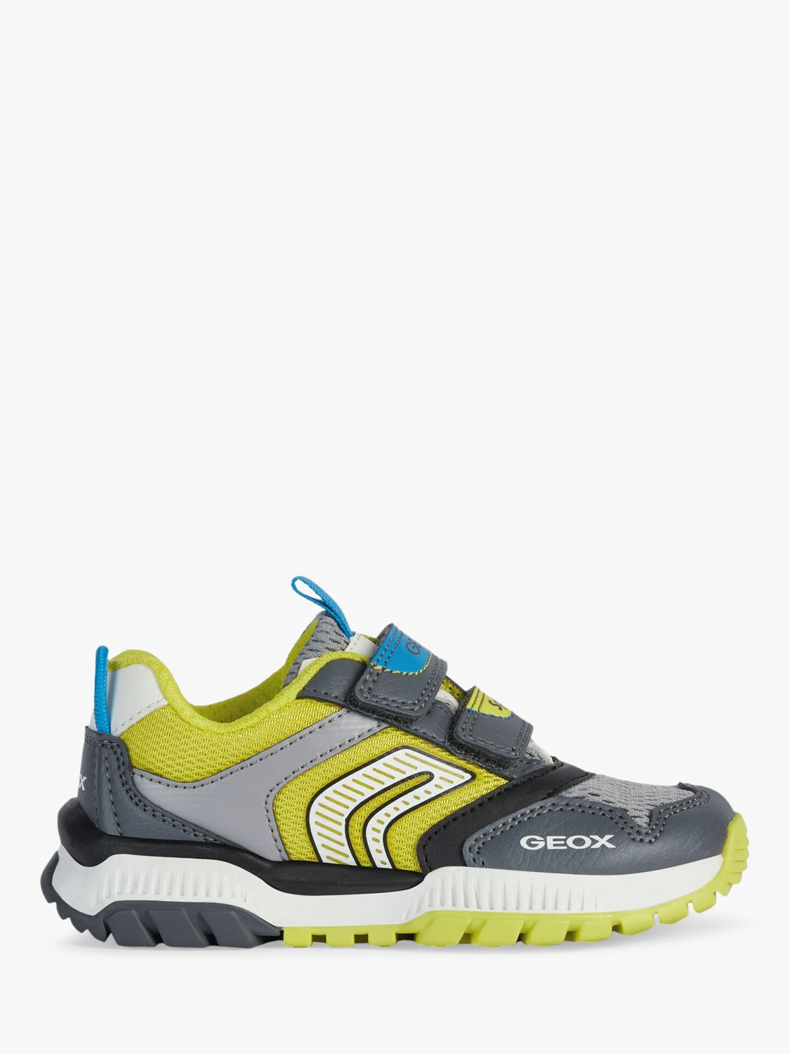 Geox Geox Children's Tuono Riptape Trainers, Grey/Lime