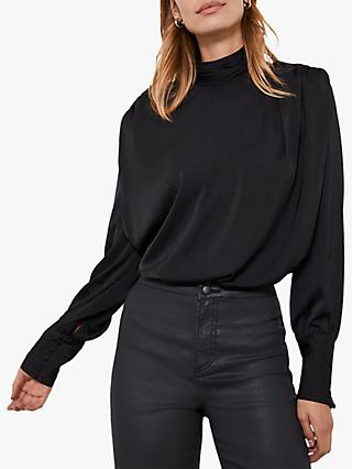 Mint Velvet Padded Shoulder Top, Black