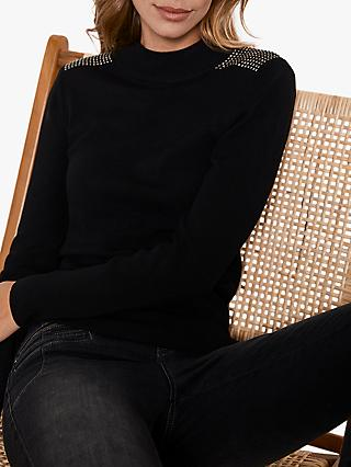 Mint Velvet Rhine Studded Shoulder Jumper, Black