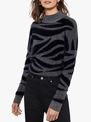 Mint Velvet Grey Zebra Fluffy Boxy Jumper, Multi