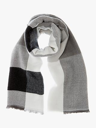 Mint Velvet Check Blanket Scarf, Grey