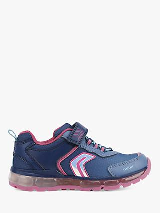 Geox Children's Light Up Android Trainers, Navy/Pink