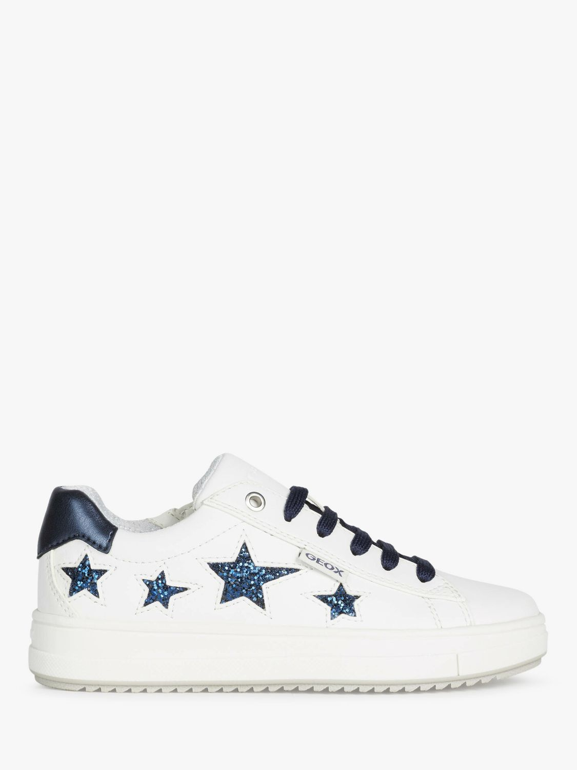 Geox Geox Children's Rebecca Star Trainers, White/Navy