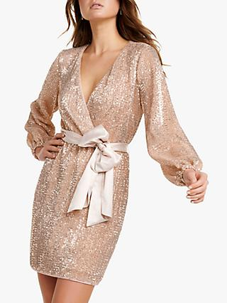 Forever New Sequin Mini Dress, Soft Pink