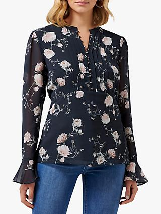 Forever New Colette Pintuck Blouse, Midnight Bloom