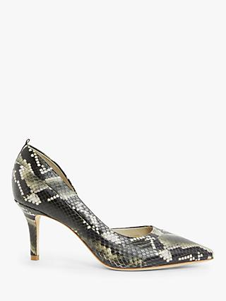 Boden Sophia Leather Mid Heel Court Shoes, Multi Snakeprint