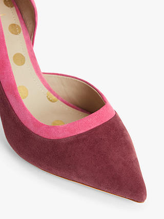 Buy Boden Sophia Suede Mid Heel Court Shoes, Maroon/Camellia, 5 Online at johnlewis.com