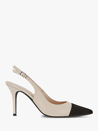 Mint Velvet Bea Leather Slingback Stiletto Shoes, Cream/Black