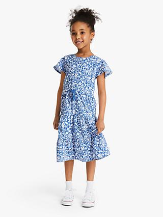 John Lewis & Partners Girls' Floral Tiered Dress, Blue