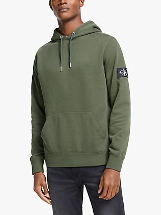 Calvin Klein Organic Cotton Monogram Sleeve Badge Hoodie, Deep Depths