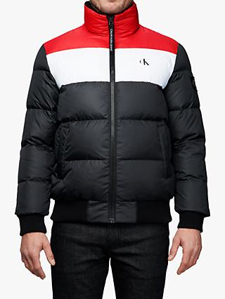 Calvin Klein Jeans Colour Block Down Puffer Jacket, CK Black/Racing Red