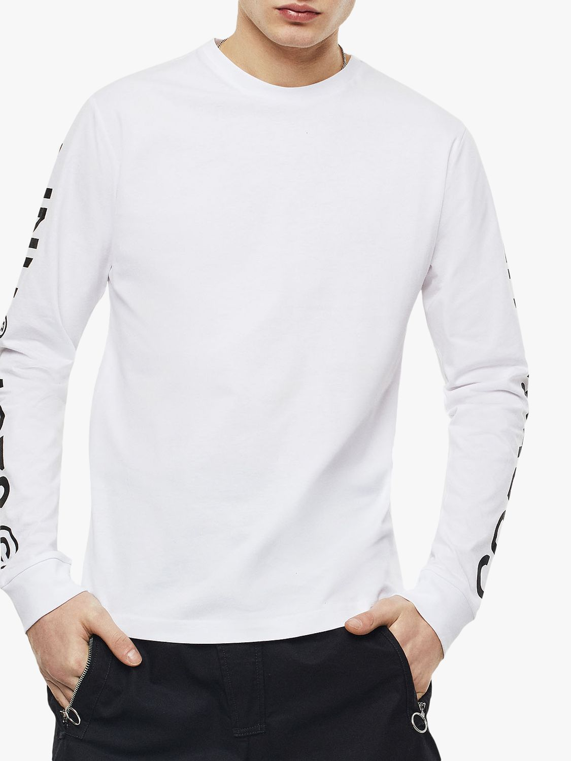 Diesel Diesel T-Just Long Sleeve Industry Logo T-Shirt, White