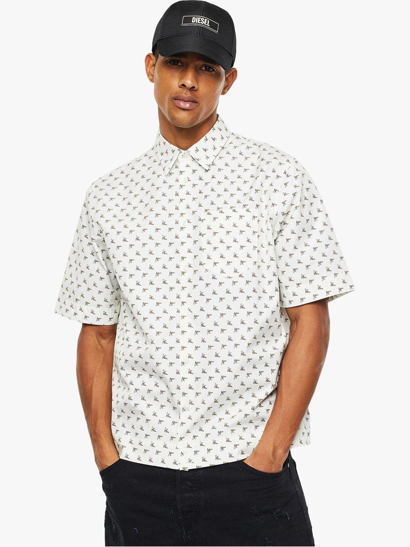 Diesel Diesel S-Atwood Banana Print Short Sleeve Shirt, White