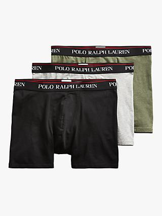 Polo Ralph Lauren Stretch Cotton Trunks, Pack of 3, Black/Heather/Green