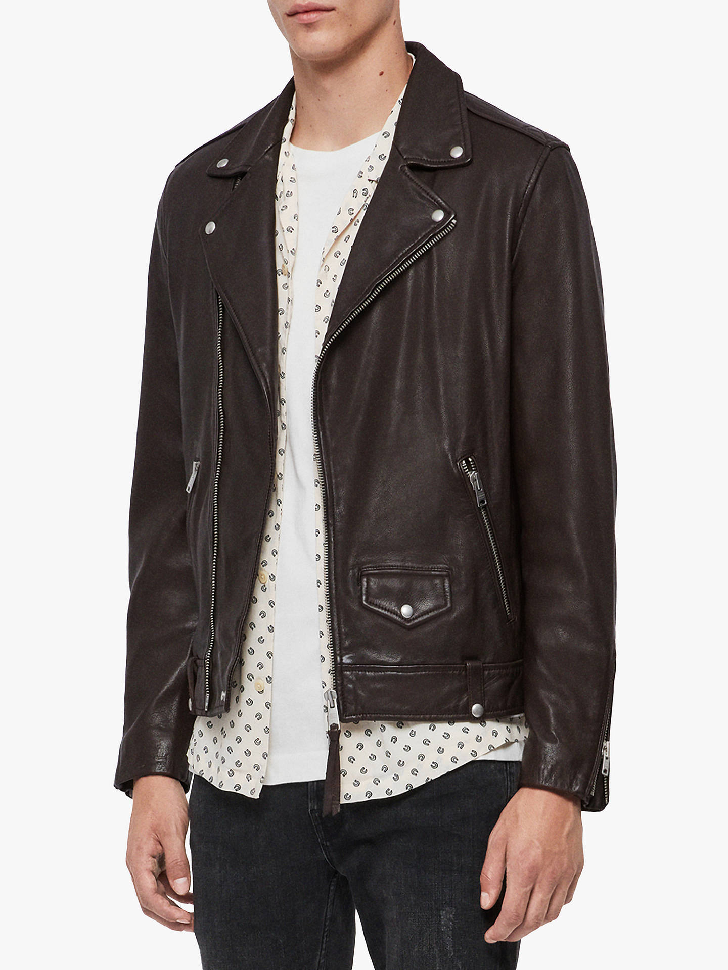 Buy AllSaints Milo Leather Biker Jacket, Oxblood Red, XS Online at johnlewis.com