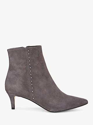 Mint Velvet Jodie Leather Kitten Heel Ankle Boots, Dark Grey