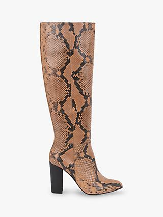 Mint Velvet Faith Leather Snake Print Knee High Boots, Multi