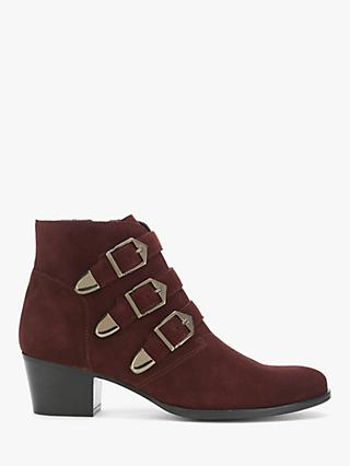 Mint Velvet Lee Triple Buckle Ankle Boots, Dark Red