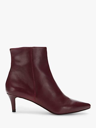 Mint Velvet Jodie Leather Pointed Toe Ankle Boots, Dark Red