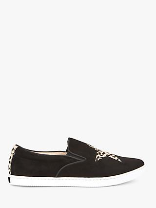 Mint Velvet Talia Animal Print Leather Slip On Trainers, Black