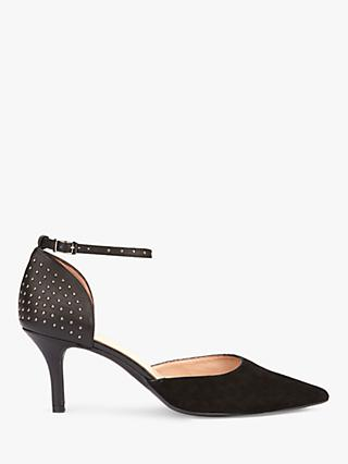 Mint Velvet Imogen Two Part Stiletto Heel Court Shoes, Black