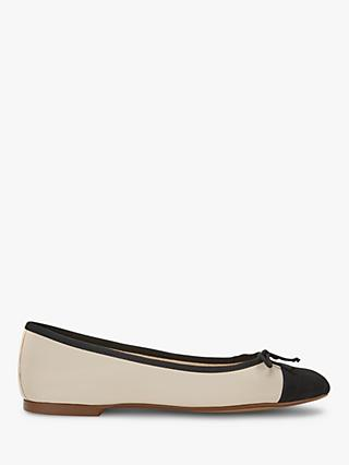 Mint Velvet Evie Leather Bow Detail Ballet Pumps, Cream