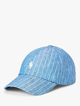 Polo Ralph Lauren Striped Linen Baseball Cap, Capri Blue/White Stripe