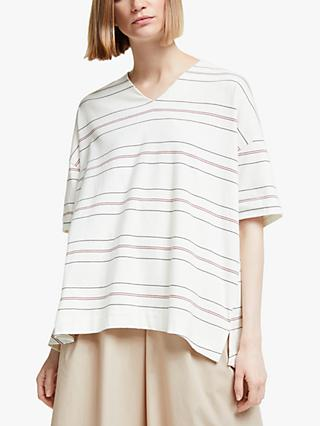 Kin Stripe Fluted V Neck T-Shirt, White
