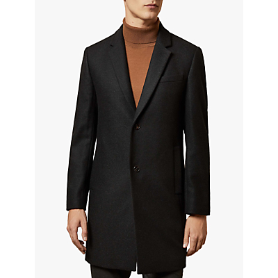 Ted Baker Socaled Single Breasted Overcoat, Charcoal