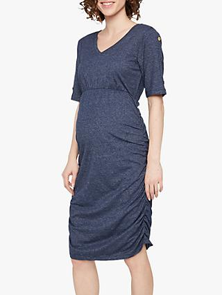 Mamalicious Tracy Ruched Maternity T-Shirt Dress, Black/Blue Iris