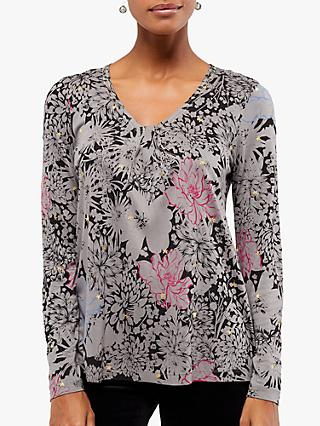 White Stuff Fit Floral Print Jersey T-Shirt, Charcoal