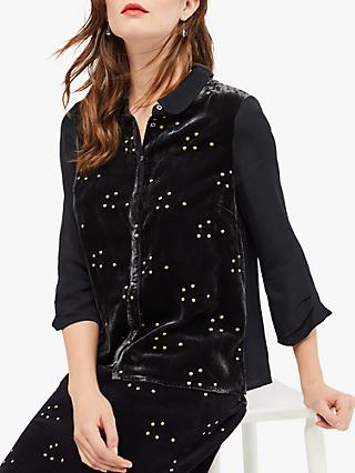 White Stuff Wish Upon Velvet Shirt, Charcoal