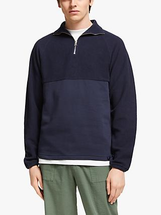Les Basics Le Zip Sweat Colour Block Sweatshirt, Navy