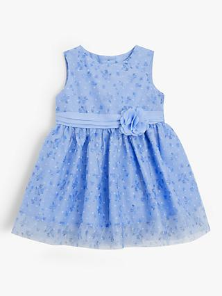 John Lewis & Partners Baby Floral Mesh Dress, Blue