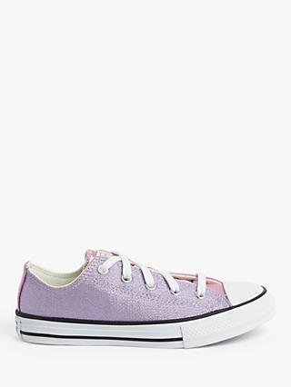 Converse Children's Chuck Taylor All Star Metallic Trainers, Cherry Blossom/Washed Lilac Canvas