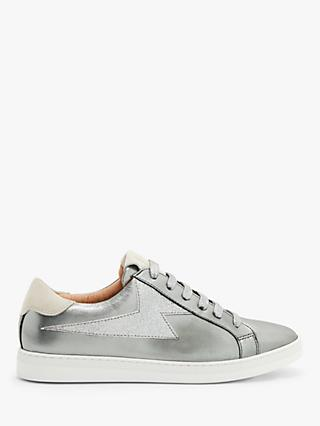 AND/OR Etty Zig Zag Mix Leather Trainers, Silver