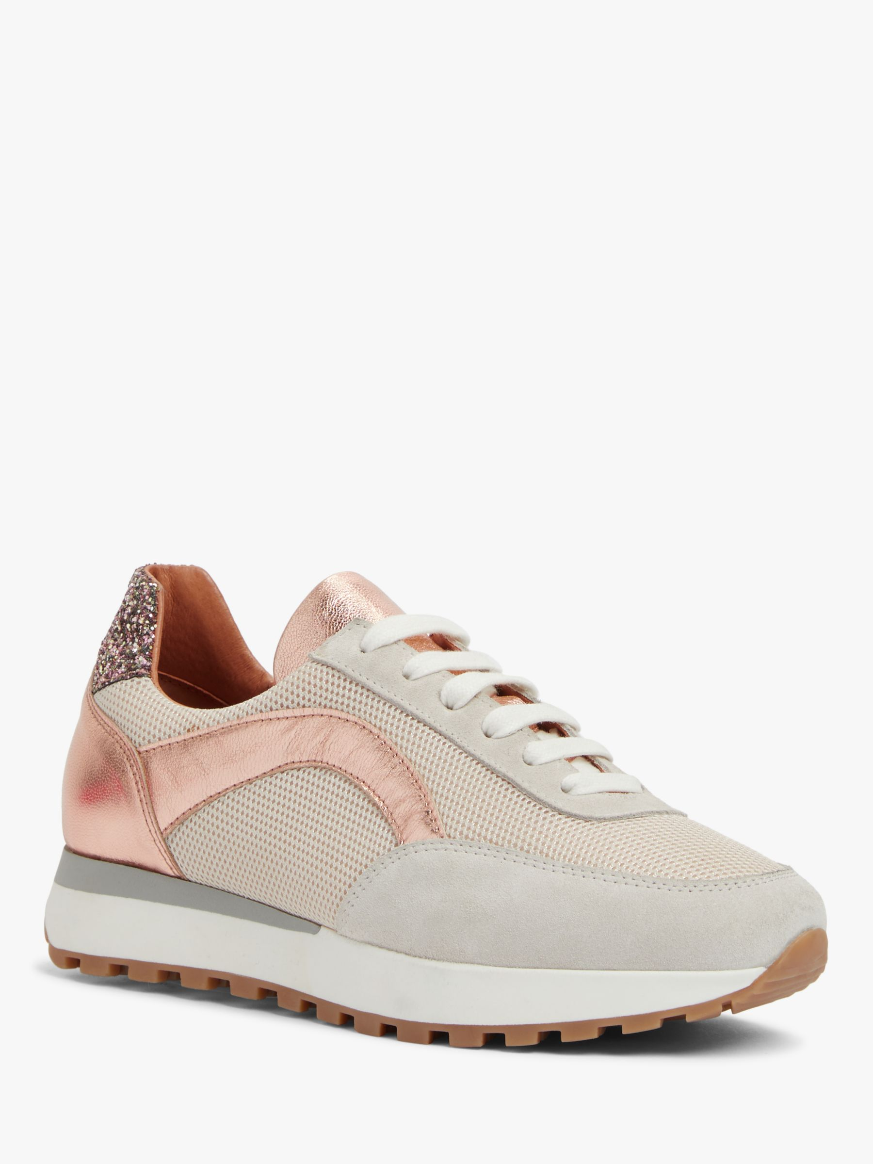 Buy AND/OR Esmee Leather Trainers, Pink, 4 Online at johnlewis.com