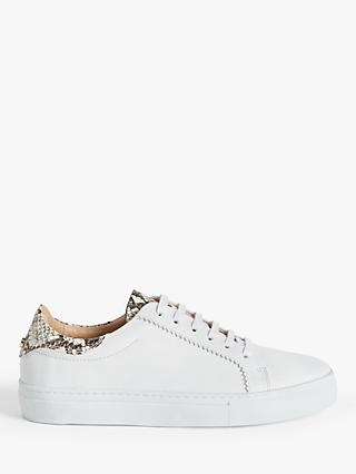 John Lewis & Partners Florence Leather Trainers, White/Snake